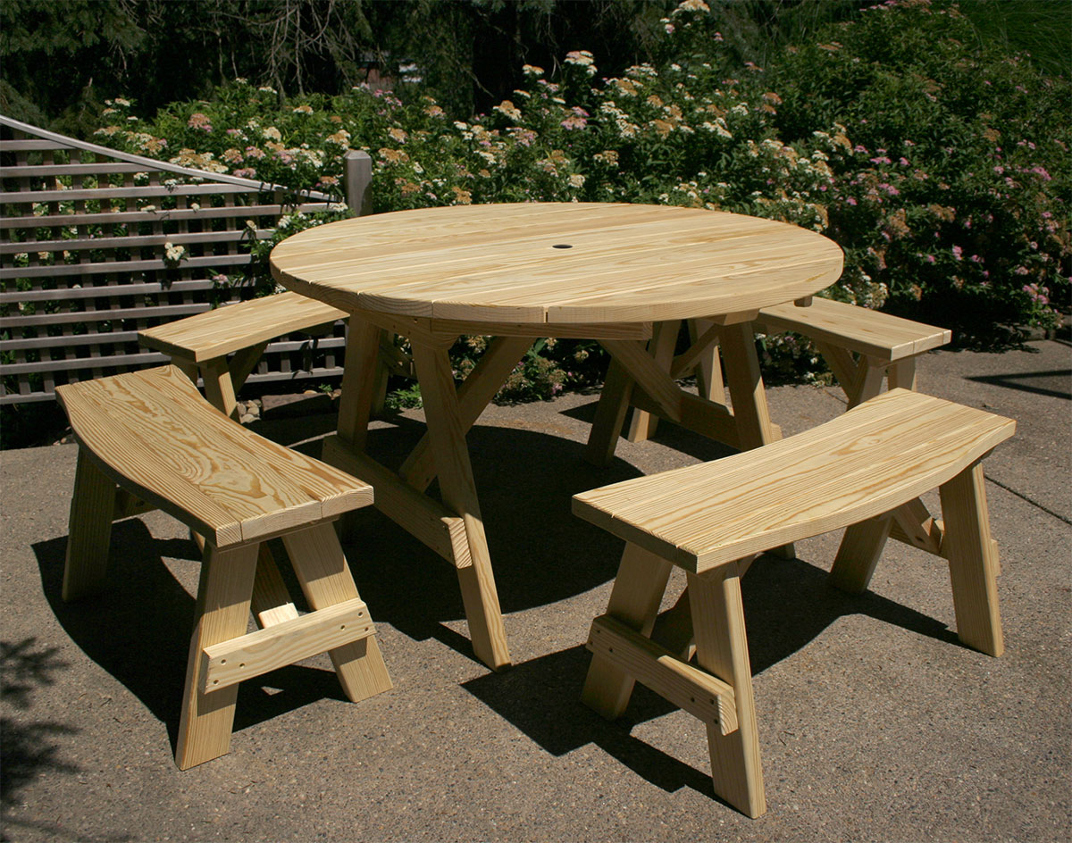 Treated Pine Round Picnic Table - Round picnic table with benches