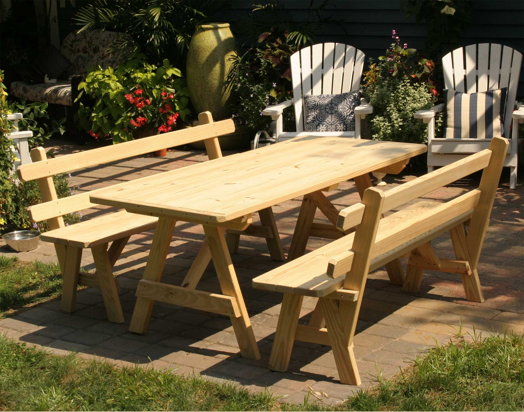 Picnic Table Plans With Separate Benches, Dec... - Amazing Wood Plans ...