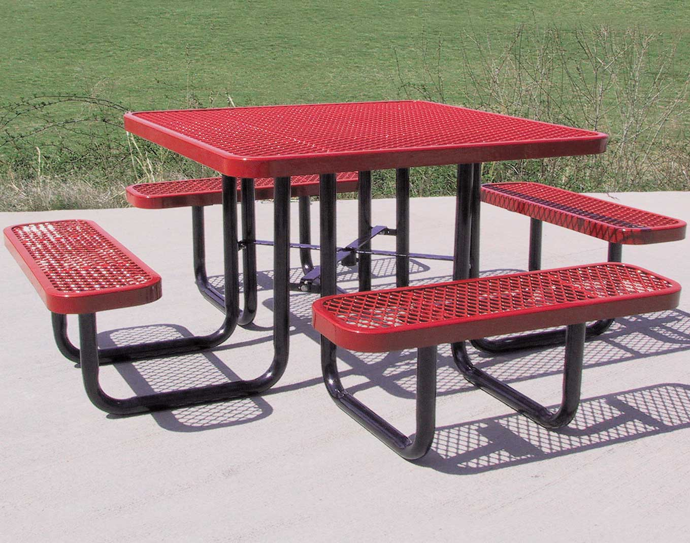 Square Expanded Metal Picnic Table - Square picnic table with benches
