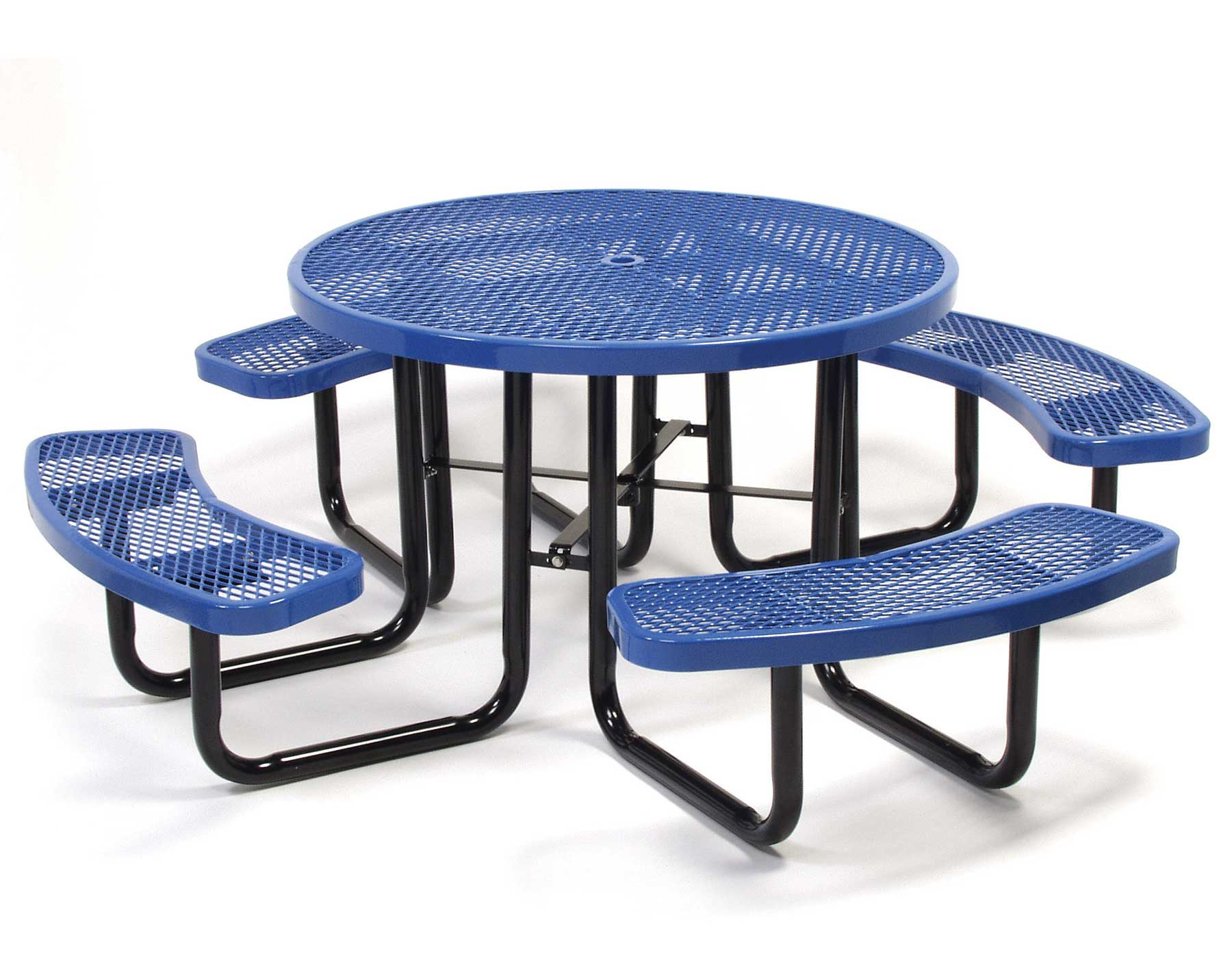 46 round expanded metal picnic table
