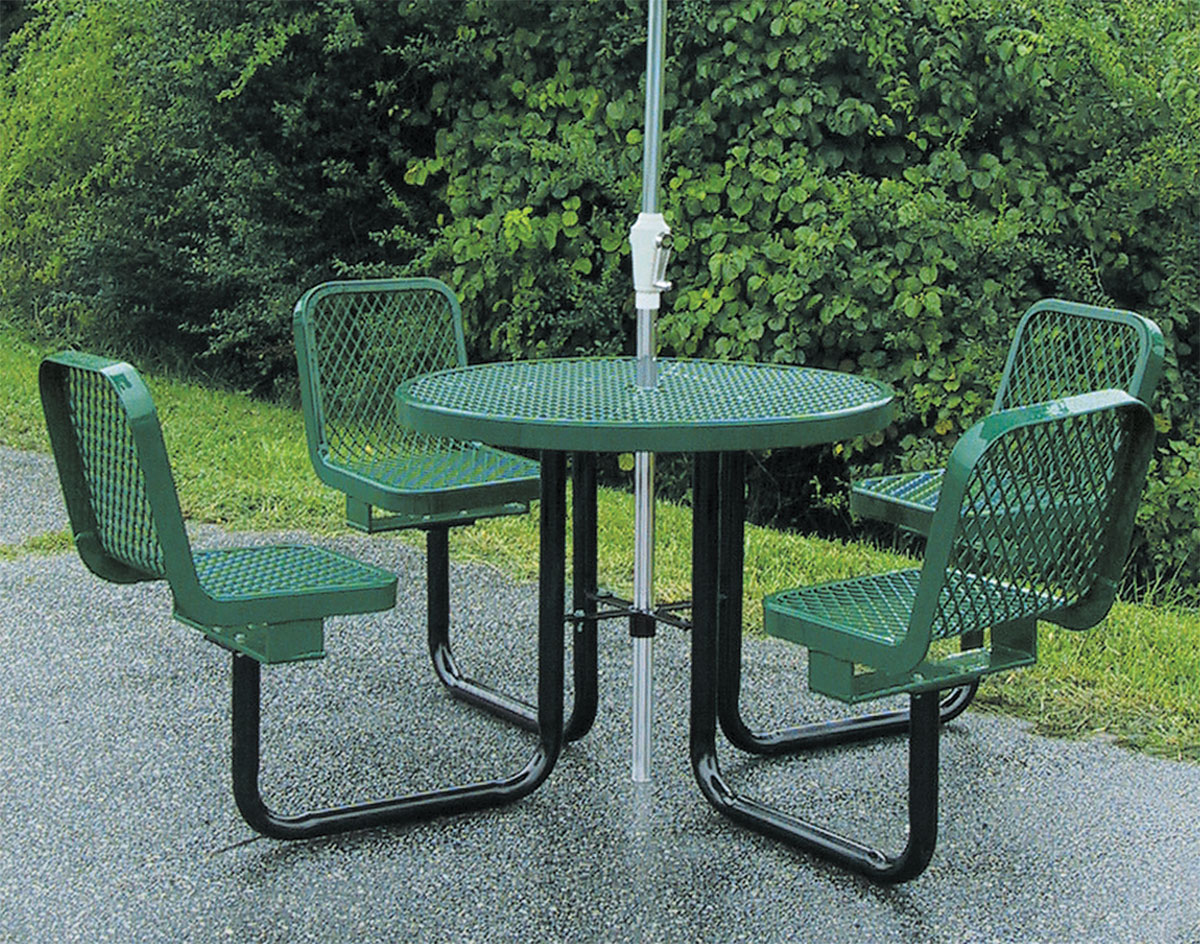 36 round metal picnic table w attached chairs watchthetrailerfo