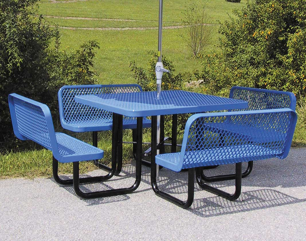 46 square expanded metal picnic table w backed benches. Black Bedroom Furniture Sets. Home Design Ideas