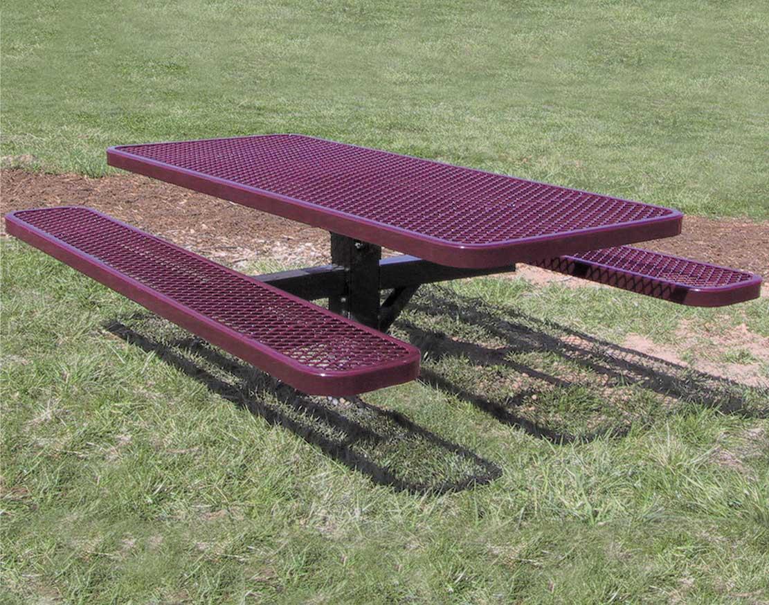 6 pedestal expanded metal picnic table 6 pedestal expanded metal picnic table watchthetrailerfo