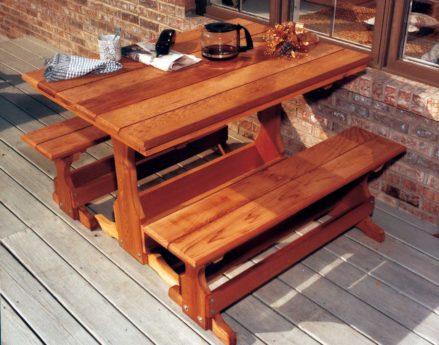 Red Cedar Rectangular Trestle Picnic Table Set - How to stain a picnic table