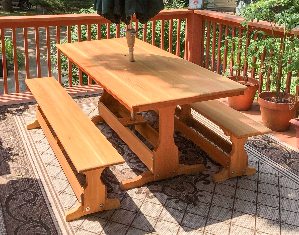 8u0027 Picnic Table Shown W/Optional 2 Benches, Umbrella Hole, And Cedar Tone  Stain. 9u0027 Green Market Umbrella Sold Separately.