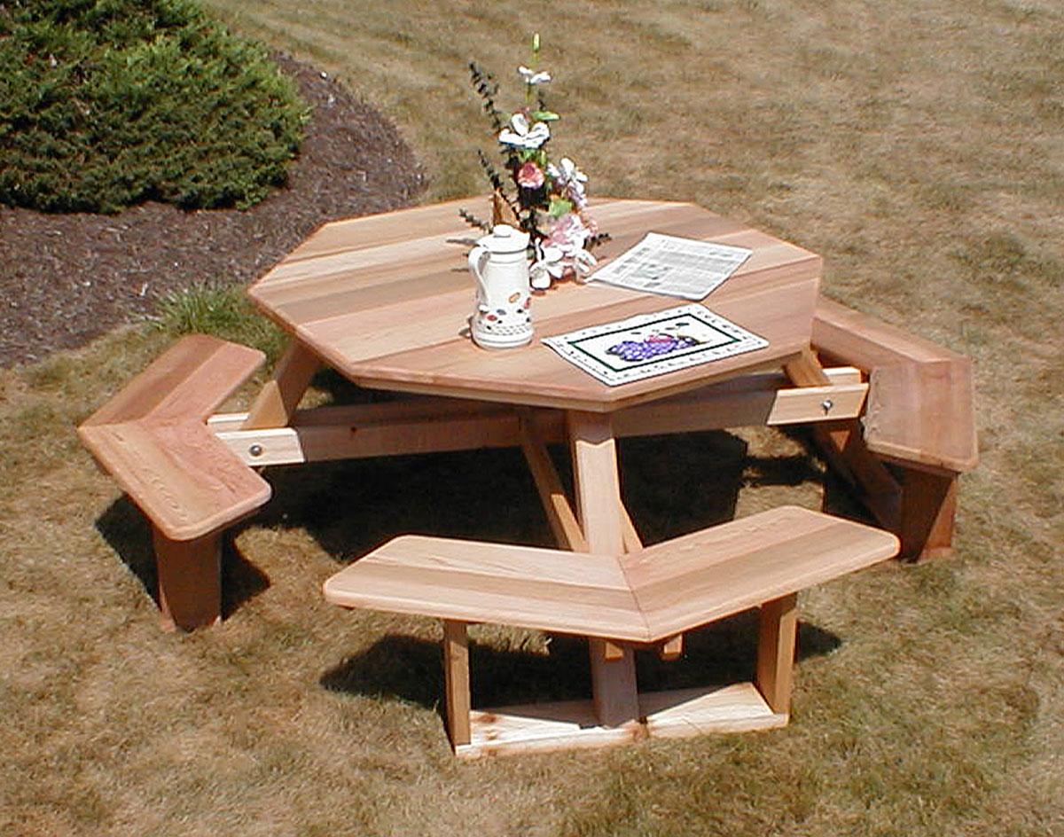 Red cedar octagon walk in picnic table watchthetrailerfo