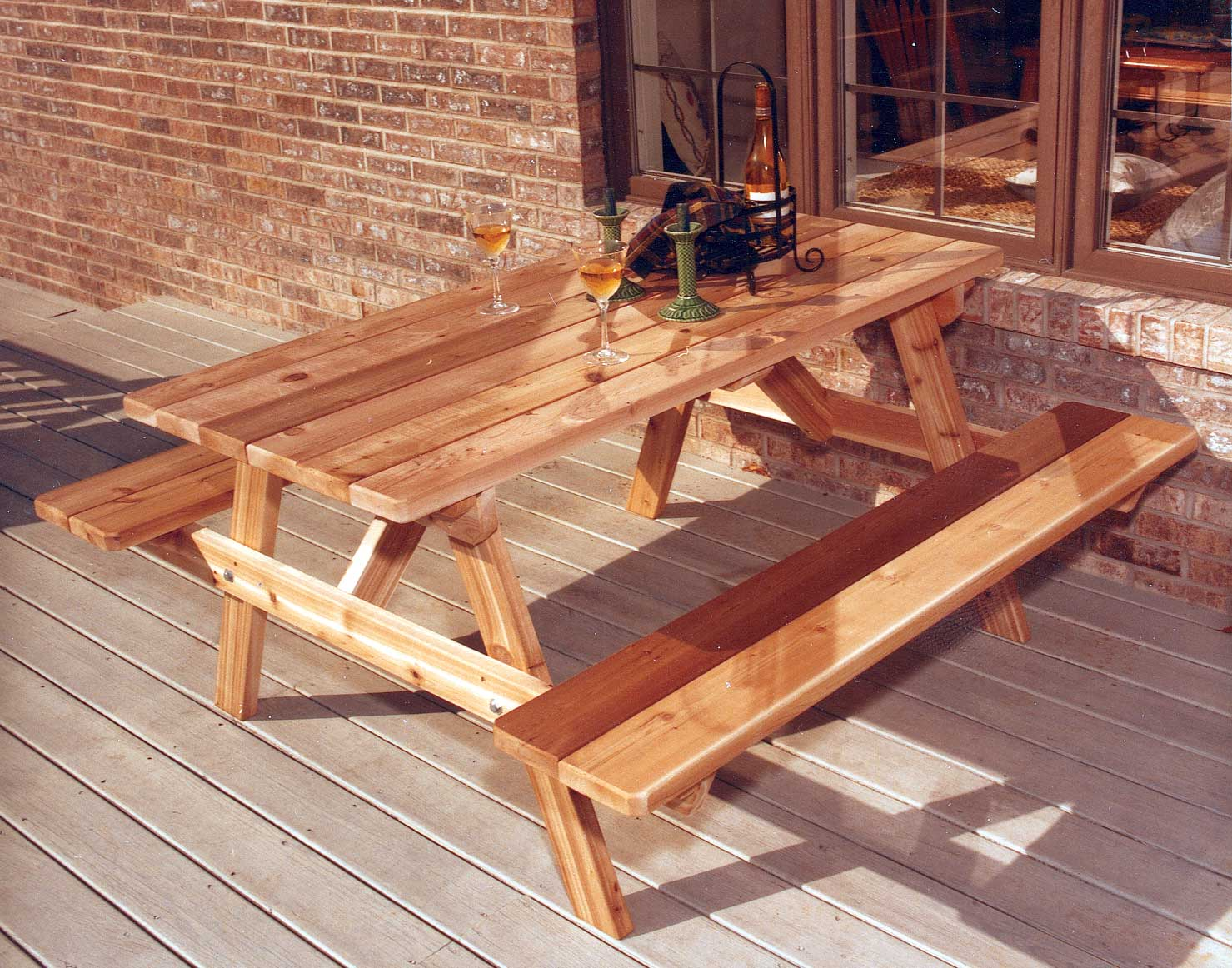 Red cedar picnic table wattached benches 5l x 27w red cedar picnic table shown with stainsealer watchthetrailerfo