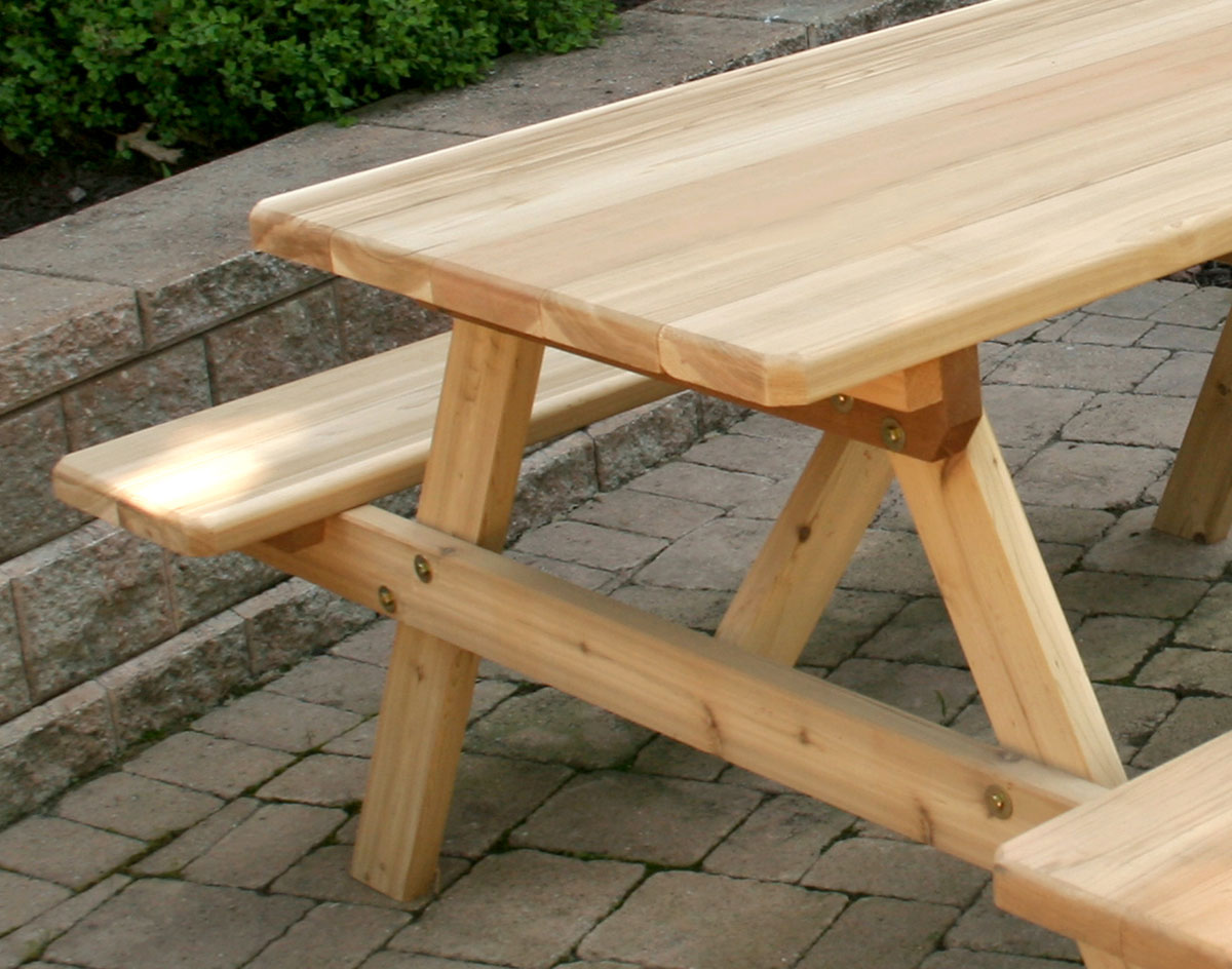 red cedar picnic table w/attached benches