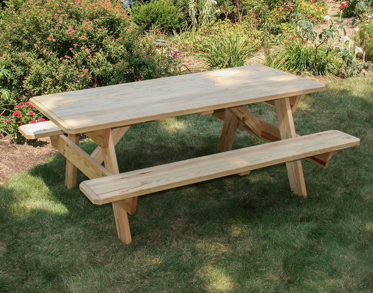 treated pine picnic table w/ attached benches