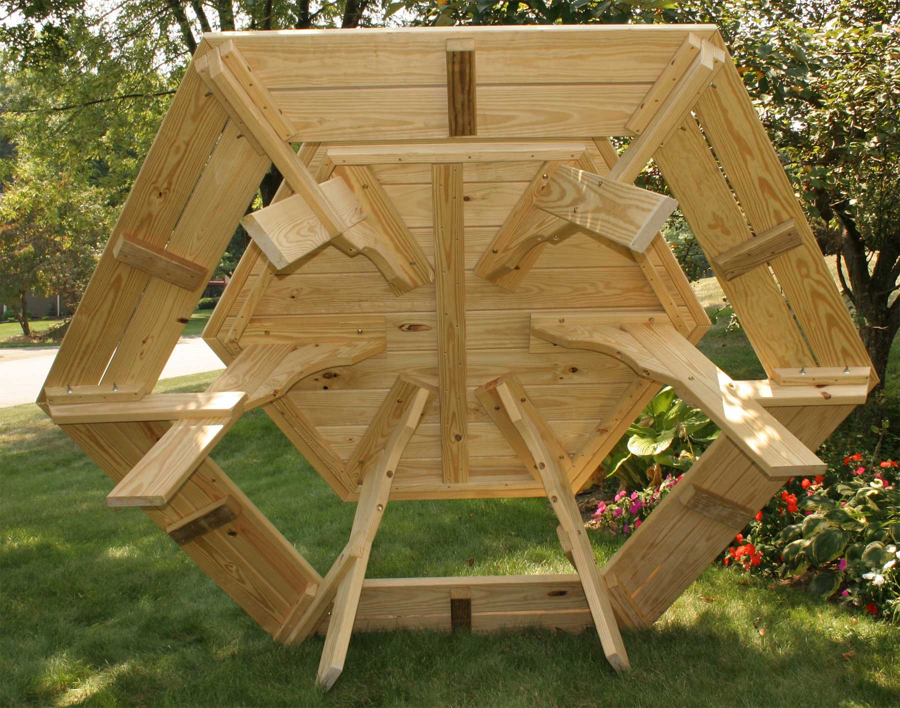 Treated Pine Hexagon Picnic Table - Treated lumber picnic table