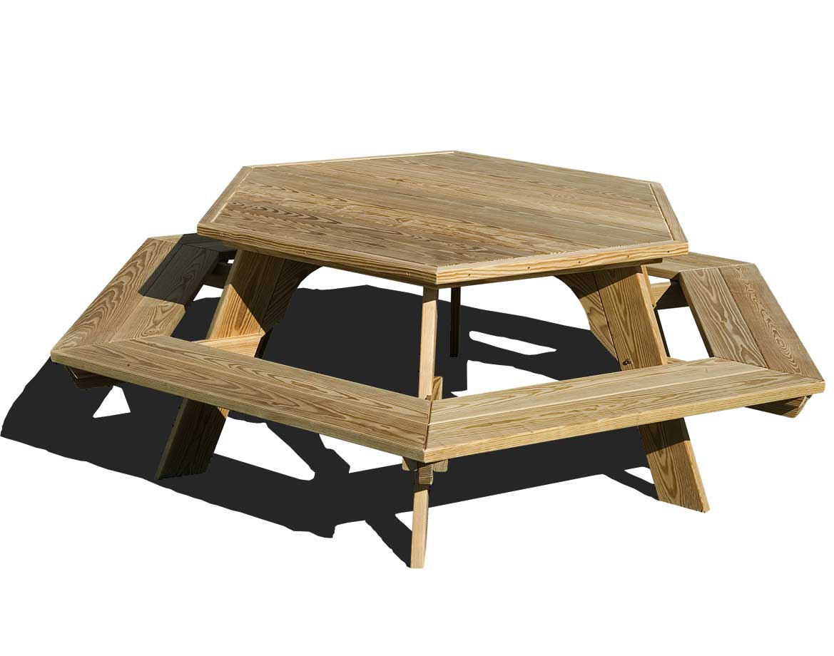 treated pine hexagon picnic table. Black Bedroom Furniture Sets. Home Design Ideas