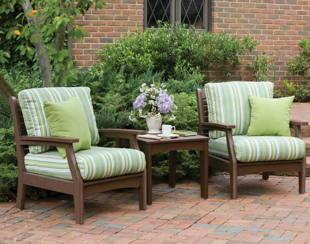 poly lumber 3 piece classic terrace deep seating set wsunbrella cushions