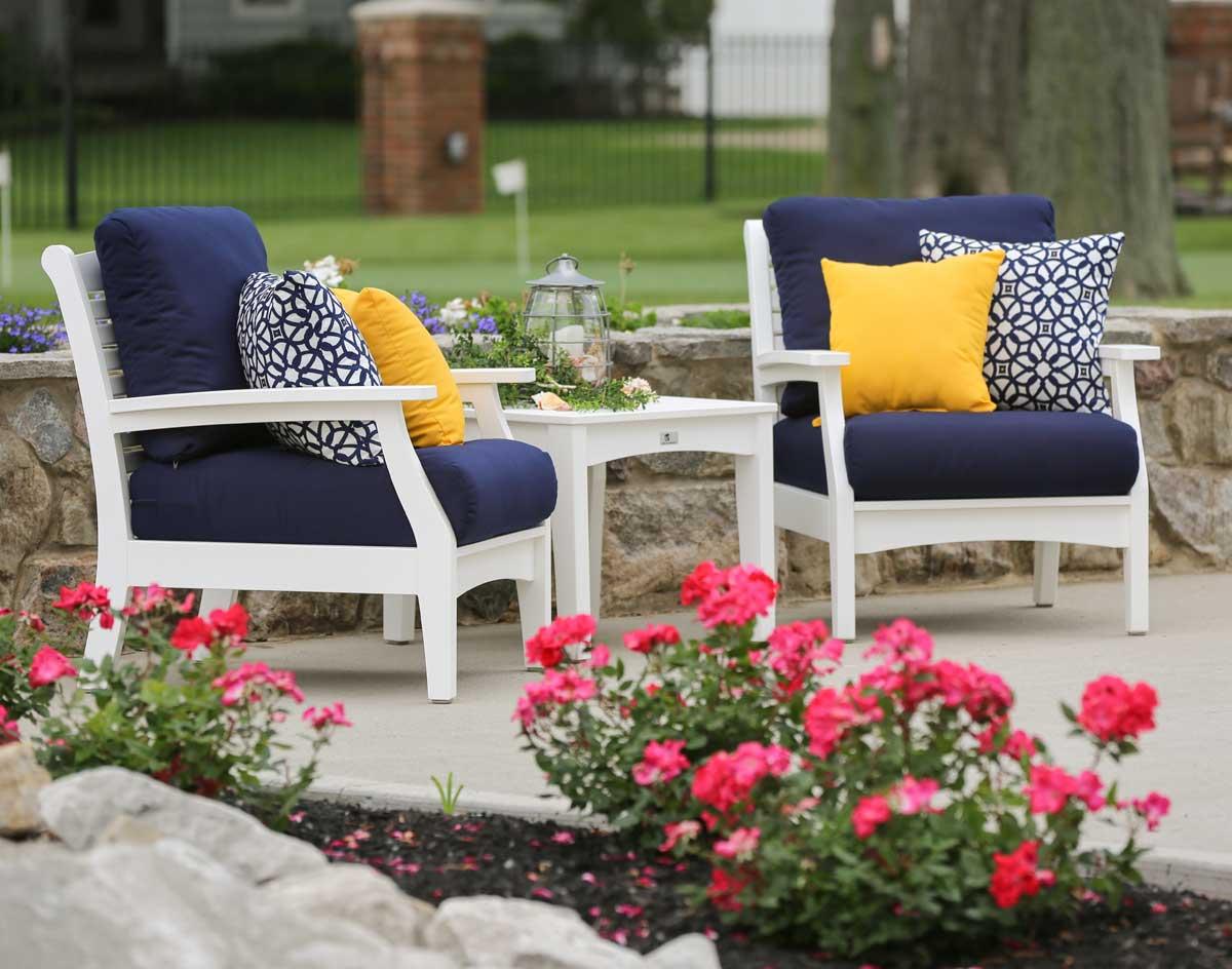 Poly Lumber 3 Piece Classic Terrace Deep Seating Set W/Sunbrella Cushions
