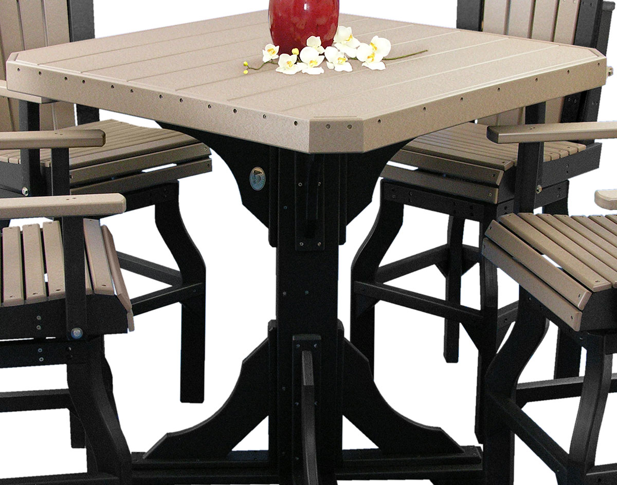 Close Up Of Poly Lumber Cantina Table Shown In Weatherwood/Black