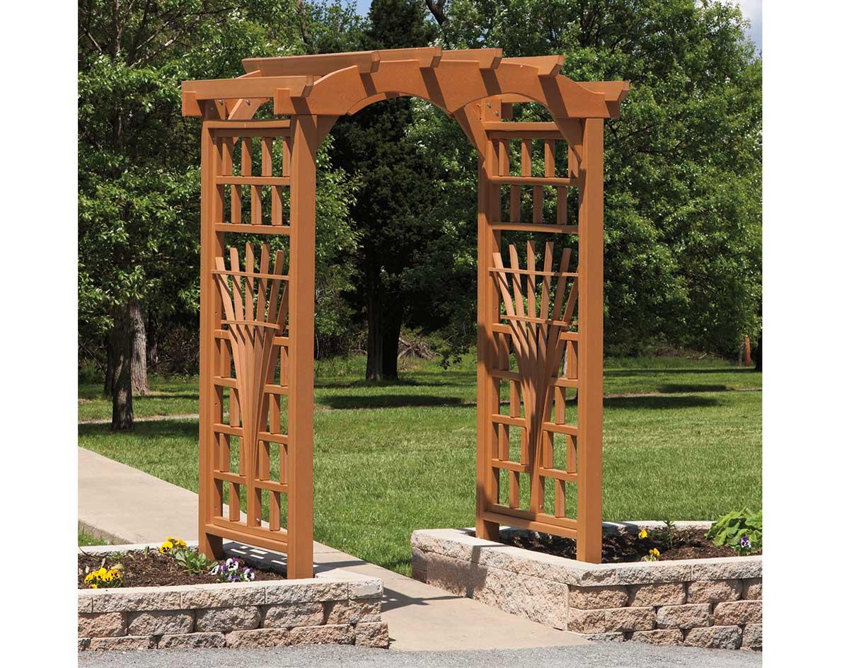 Poly lumber tivoli arbor for Wooden garden arbor designs