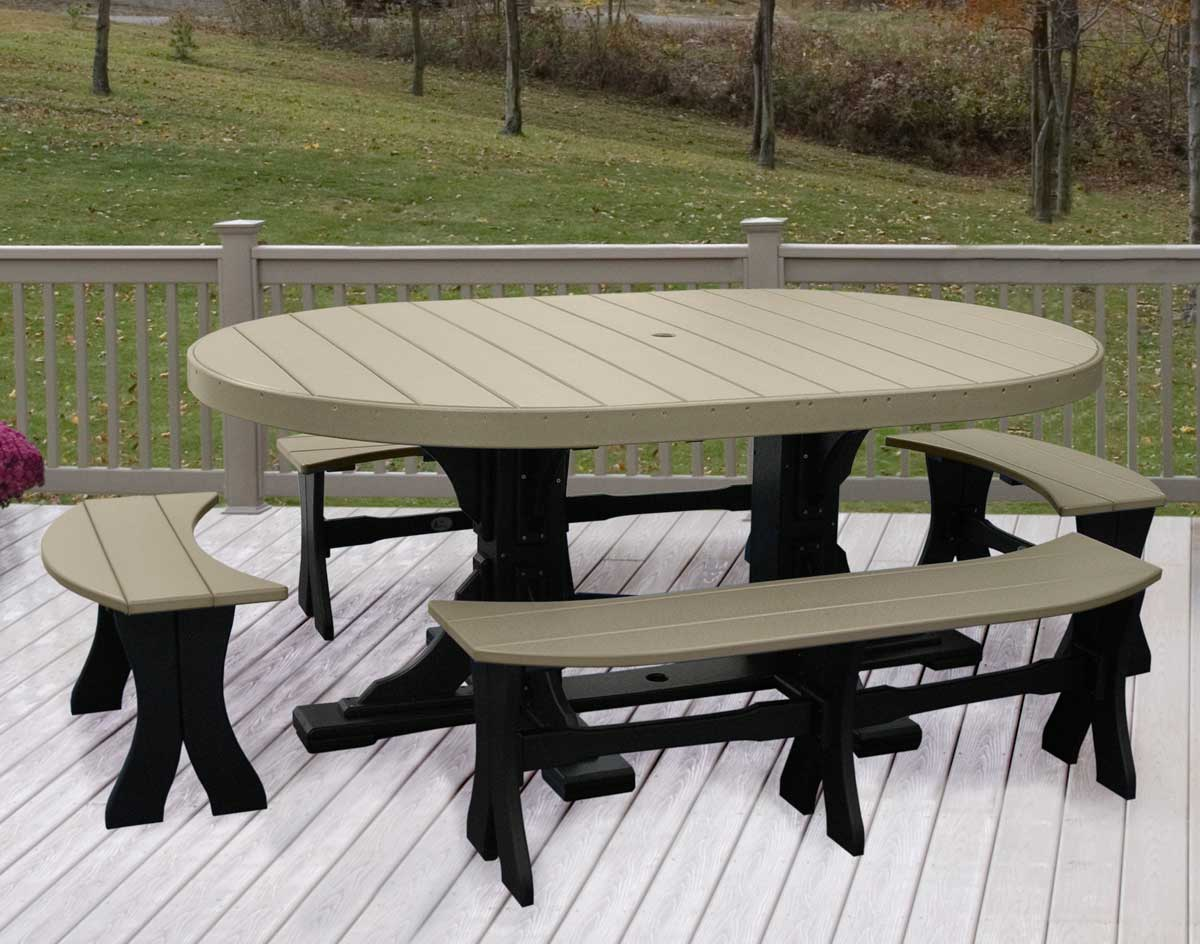 Poly Lumber 5 Piece Oval Picnic Table With Benches