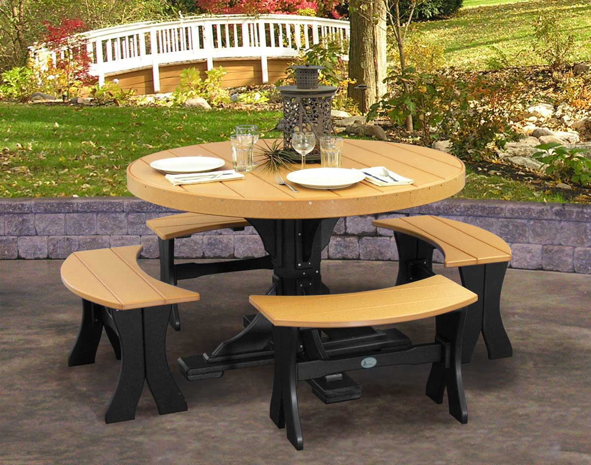 Superb Poly Lumber 5 Piece Round Picnic Table With Benches Andrewgaddart Wooden Chair Designs For Living Room Andrewgaddartcom