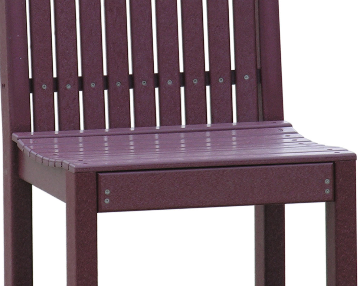 Close Up Of Seat Of Poly Lumber High Back Dining Chair Shown In Cherrywood