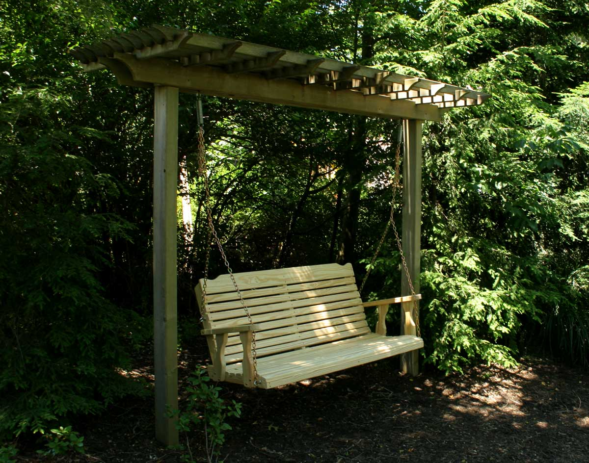Treated pine crossback porch swing - Arbor bench plans set ...