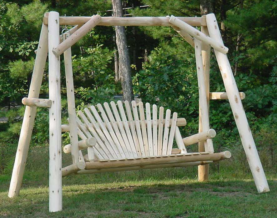 White Cedar Unstained Love Seat Swing W Stand