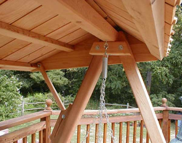 & Red Cedar Wooden Canopy for Porch Swing