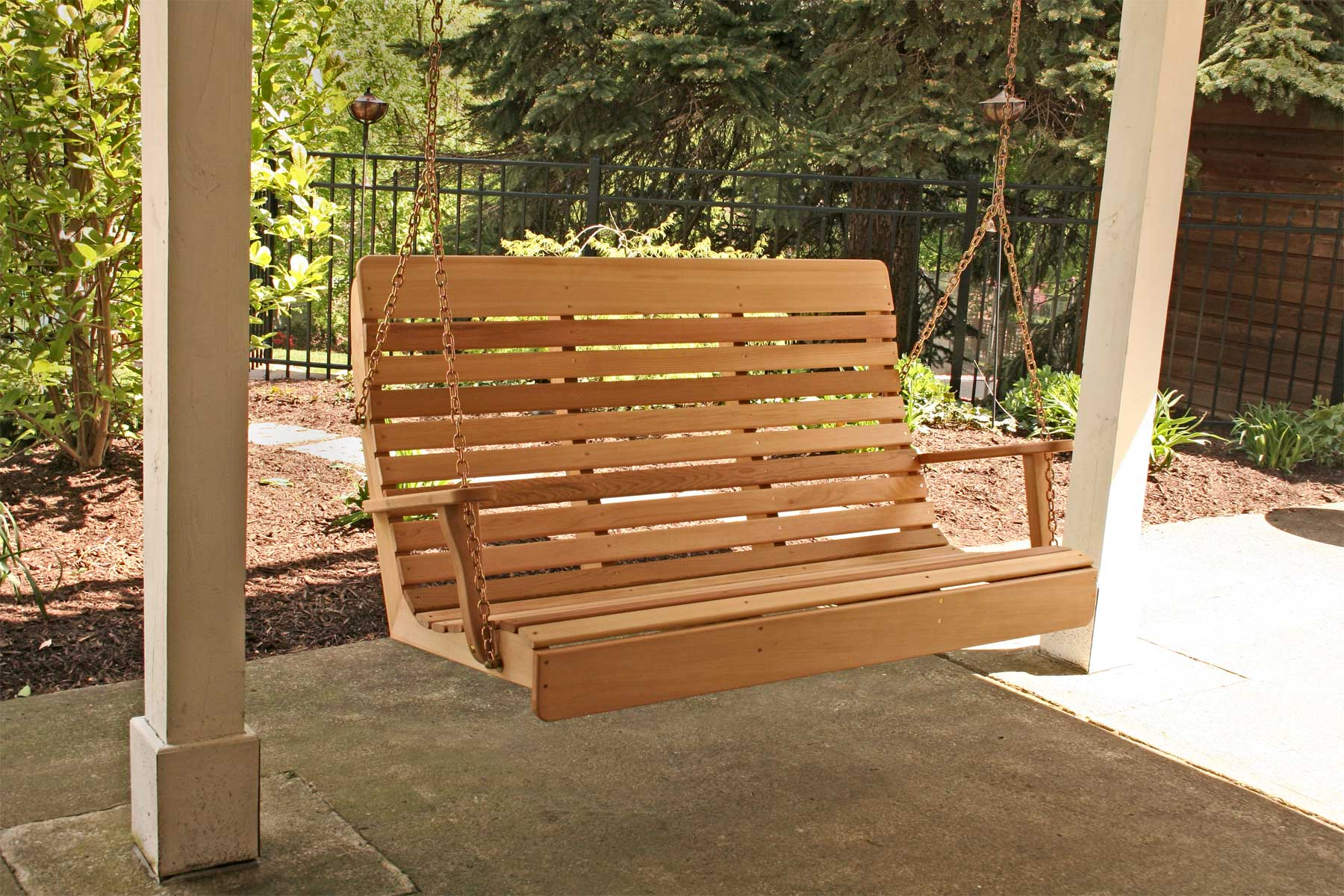 Red cedar royal highback porch swing for Pictures of porch swings