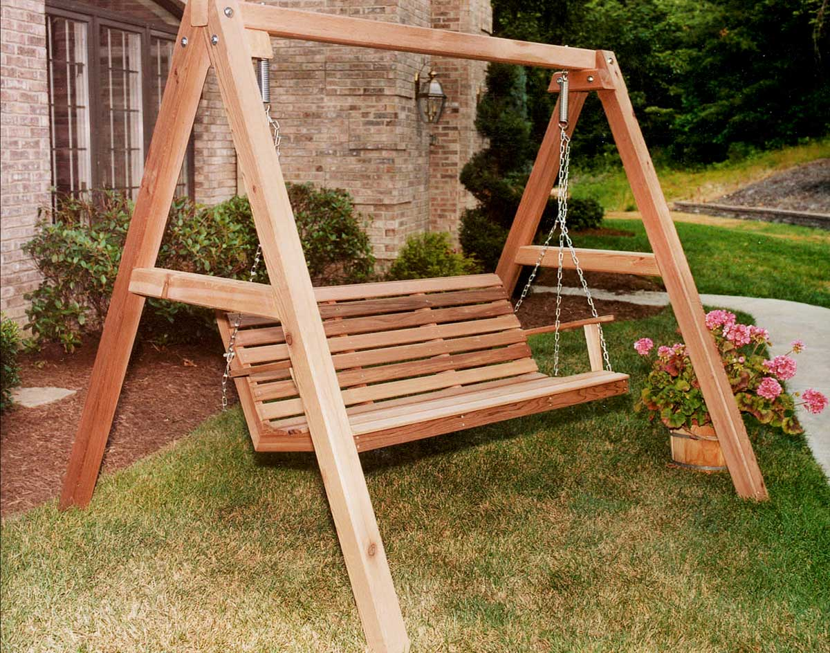 5' Red Cedar American Classic Porch Swing shown Unstained with Optional  Comfort Springs and 4'/5' A-Frame - Red Cedar American Classic Porch Swing