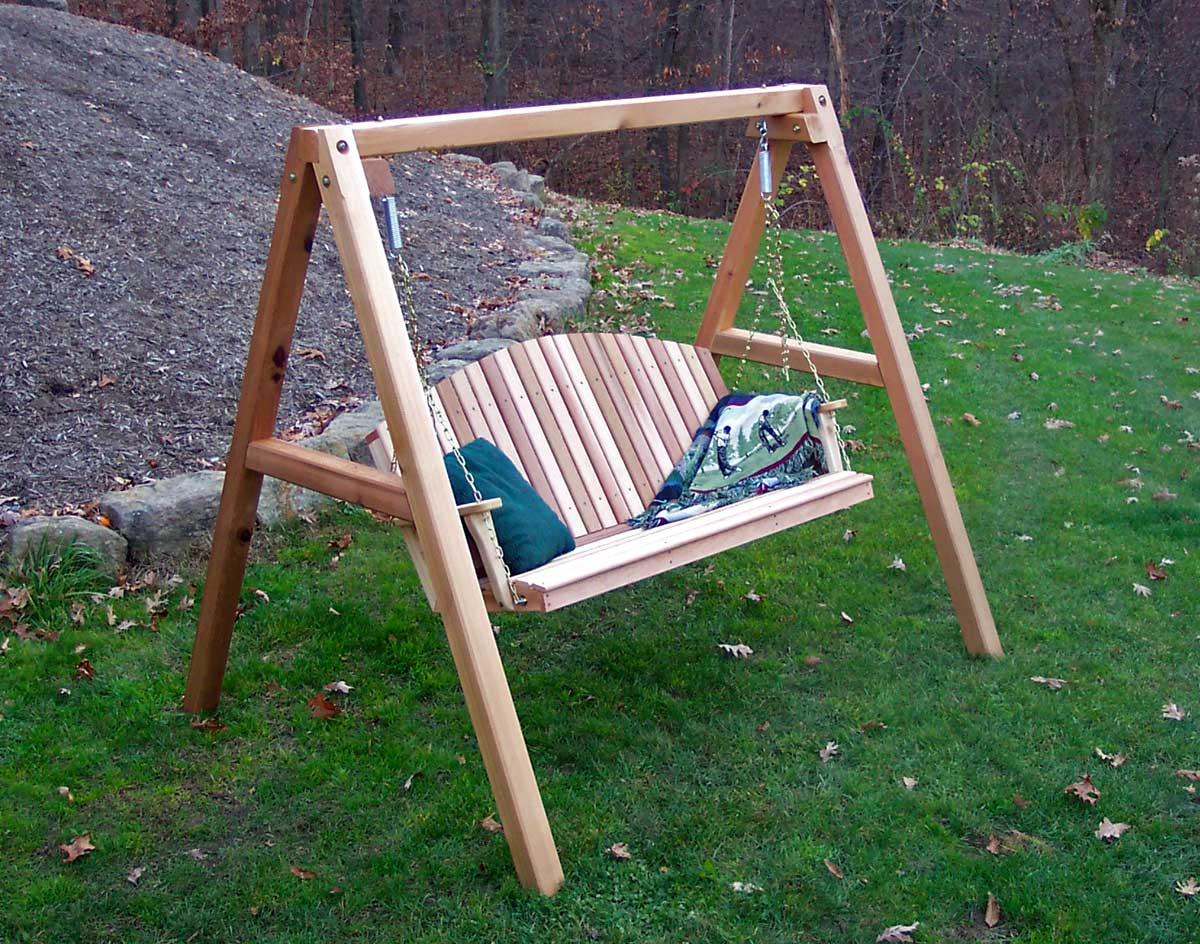 5' Porch Swing shown Unstained with Optional Comfort Springs and 4'/5' A- Frame - Red Cedar Blue Mountain Fanback Porch Swing