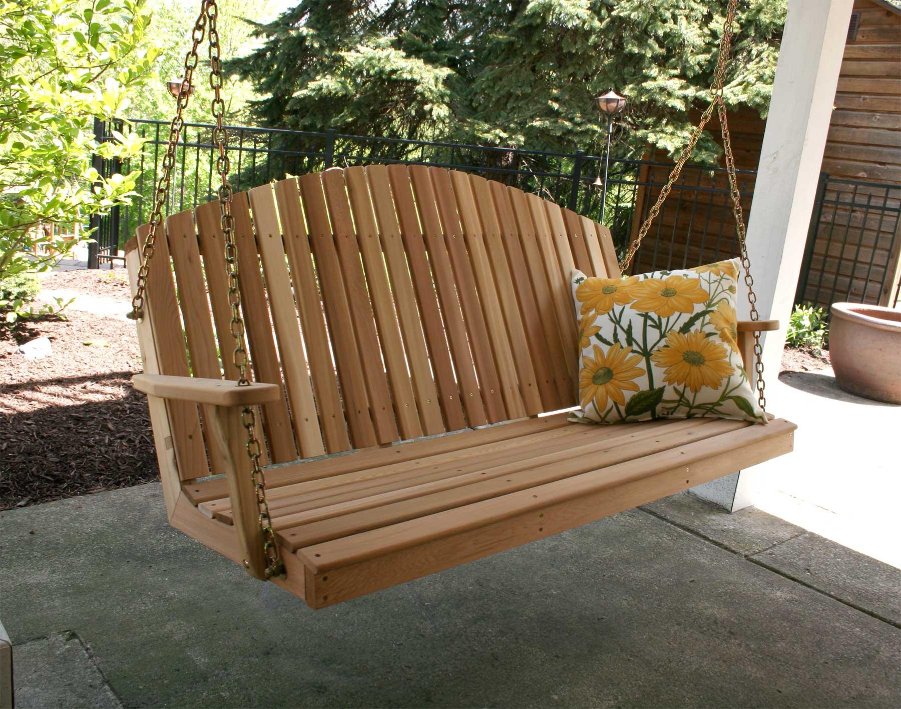 Red Cedar Blue Mountain Fanback Porch Swing
