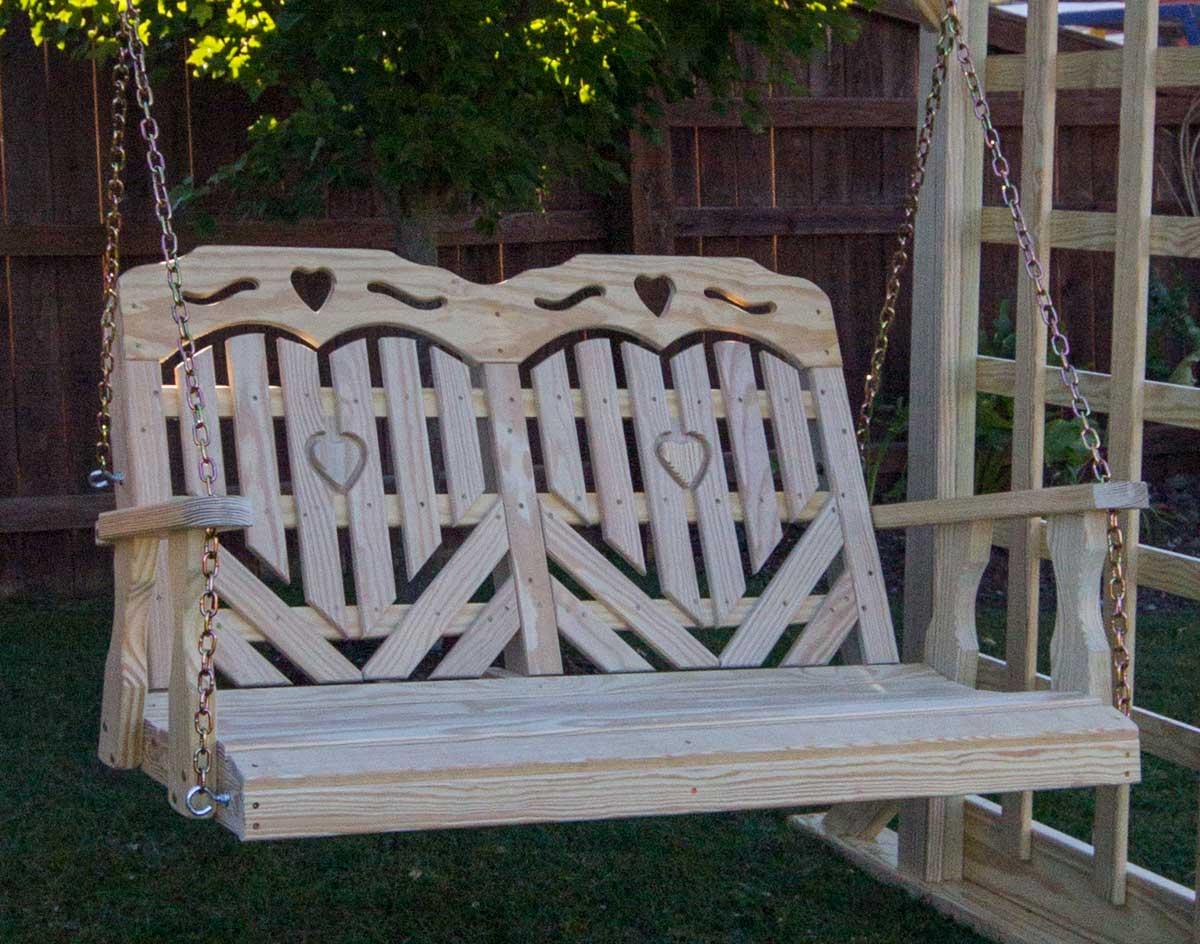 Treated Pine Heartback Porch Swing W Hearts Amp Scroll