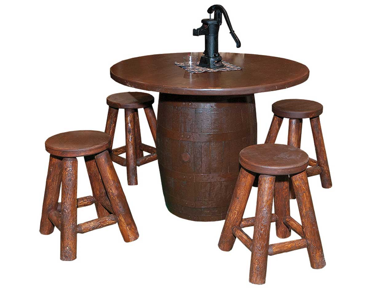 Stained Whisky Barrel Bar Table W 4 Stools
