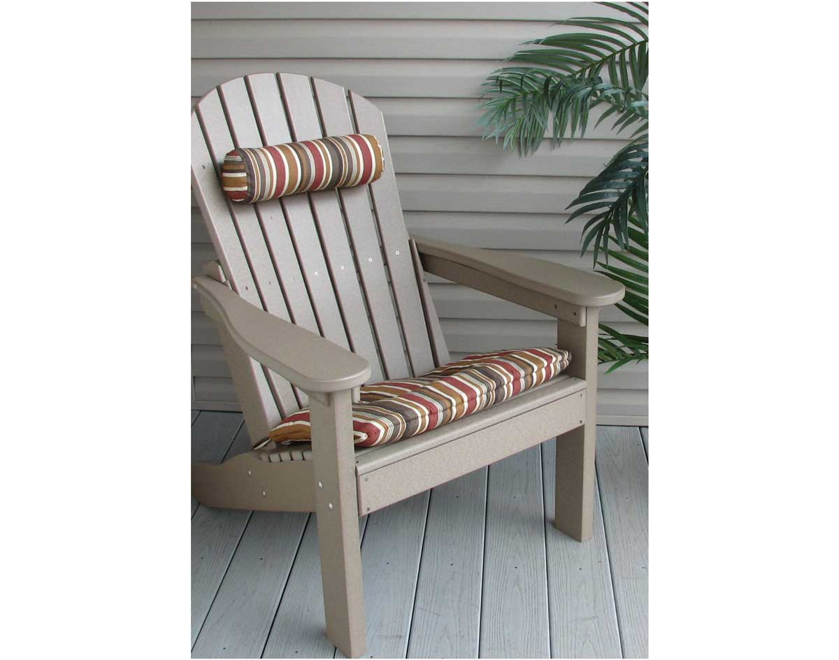 chair neck pillow. sunbrella neck pillow shown in brannon-redwood with optional poly-wood comfo-back adirondack chair and 2tf seat cushion (sold separately) e