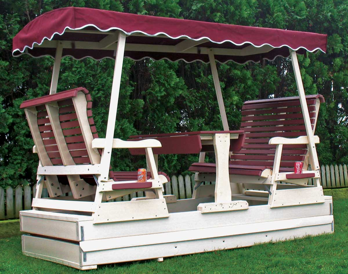 Outdoor Glider With Canopy And Table Table Design Ideas
