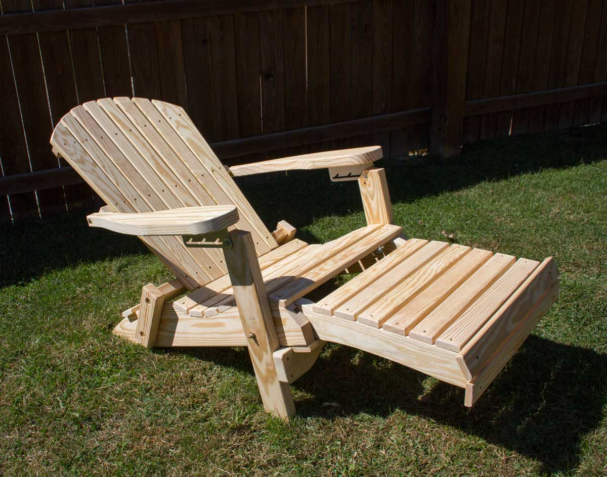 & Treated Pine Folding Adirondack Chair w/Footrest