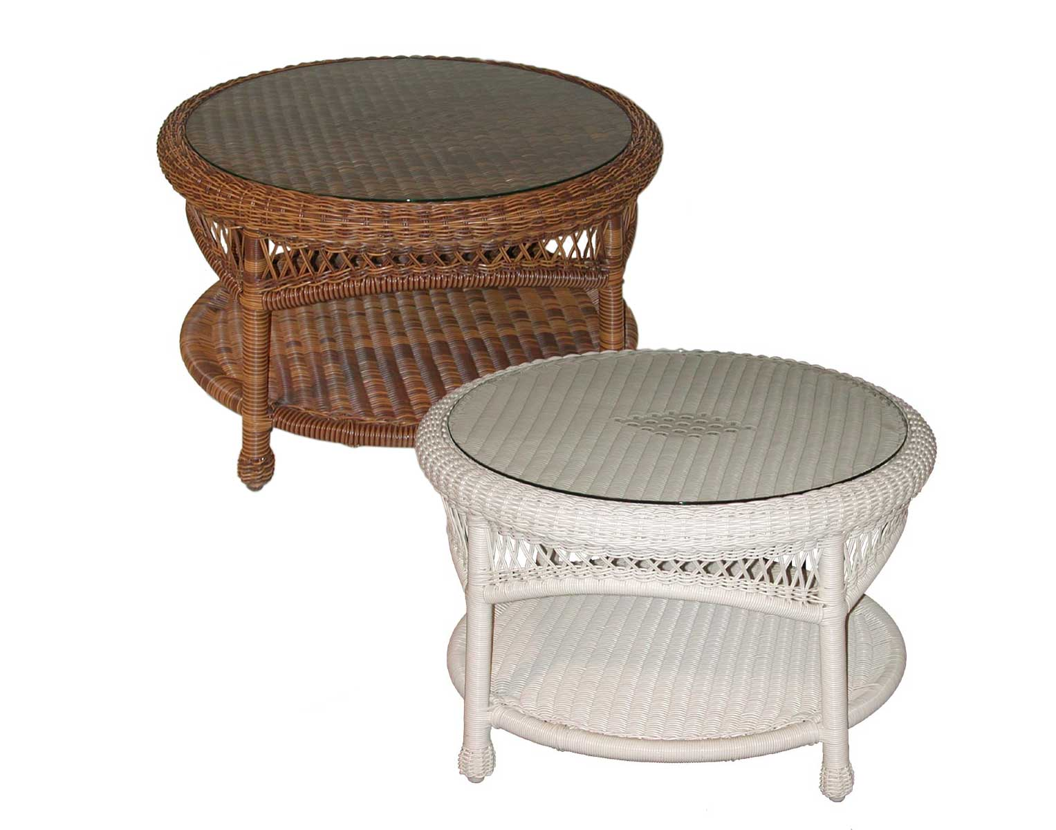 Wicker sands round coffee table White wicker coffee table