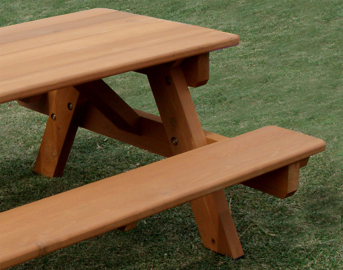 Red cedar heavy duty picnic table wattached benches watchthetrailerfo