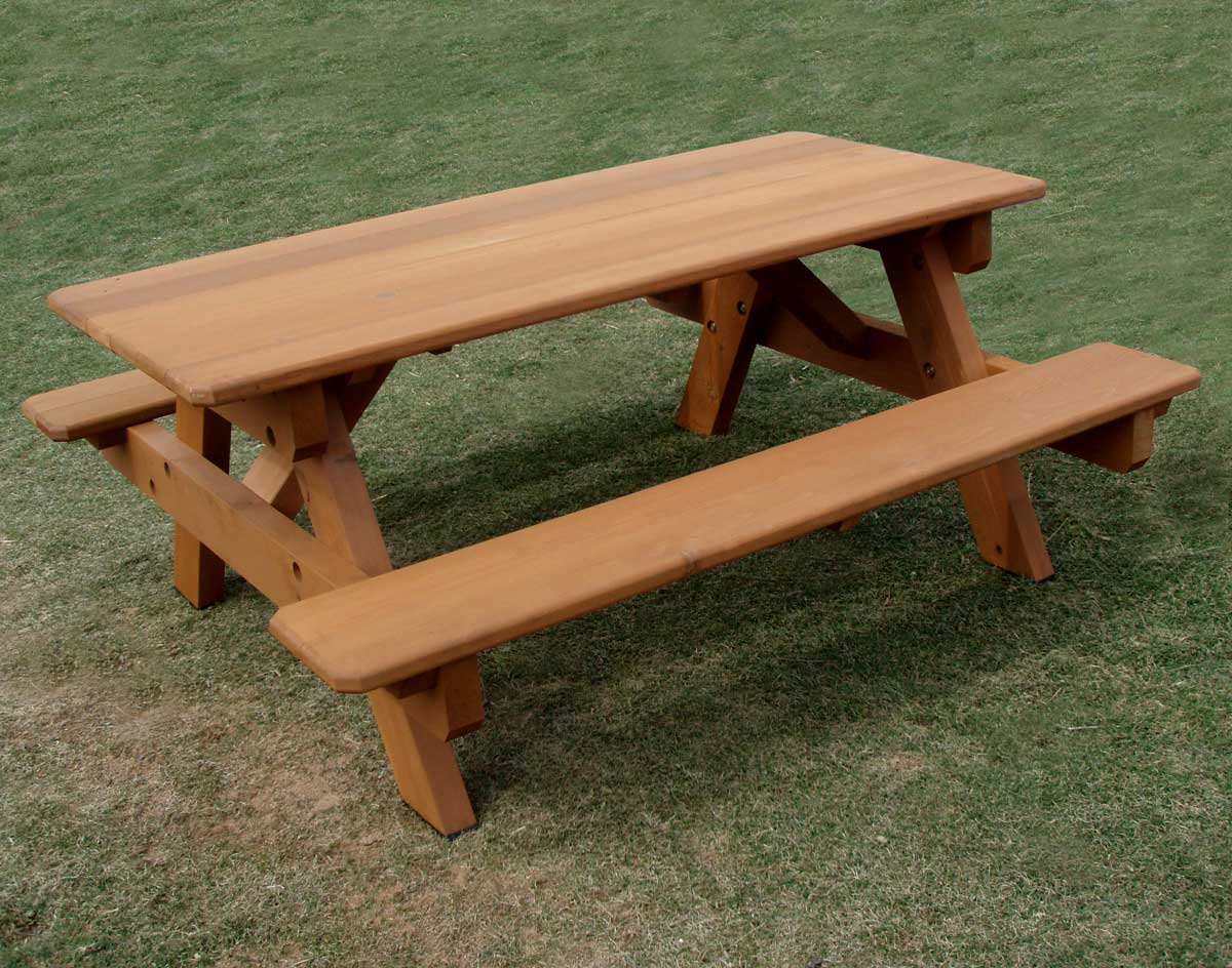 Red Cedar Heavy Duty Picnic Table W Attached Benches