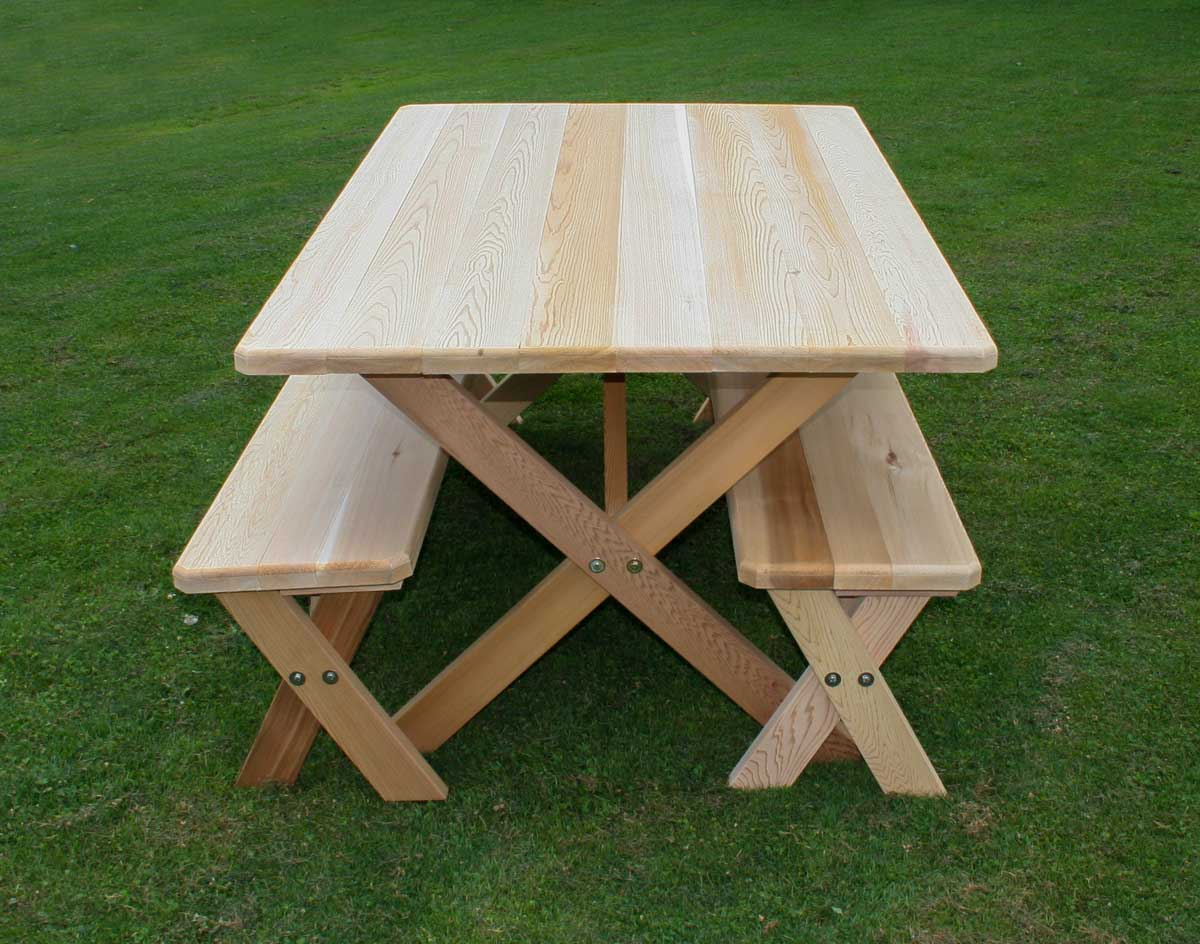 42 Wide Red Cedar Cross Legged Picnic Table W Benches