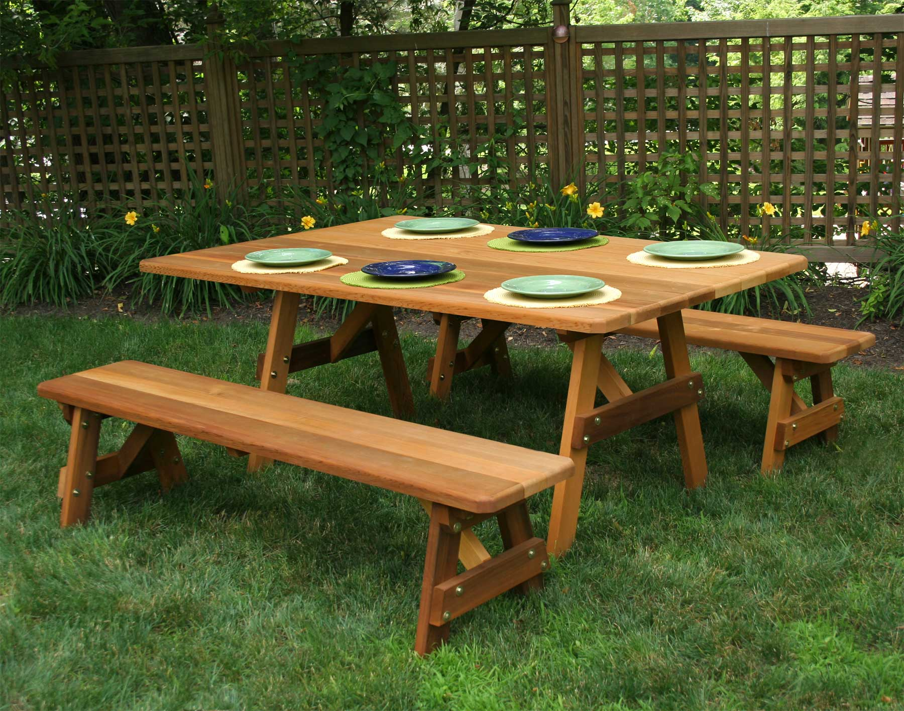 Wide Red Cedar Traditional Picnic Table WBenches - How to stain a picnic table