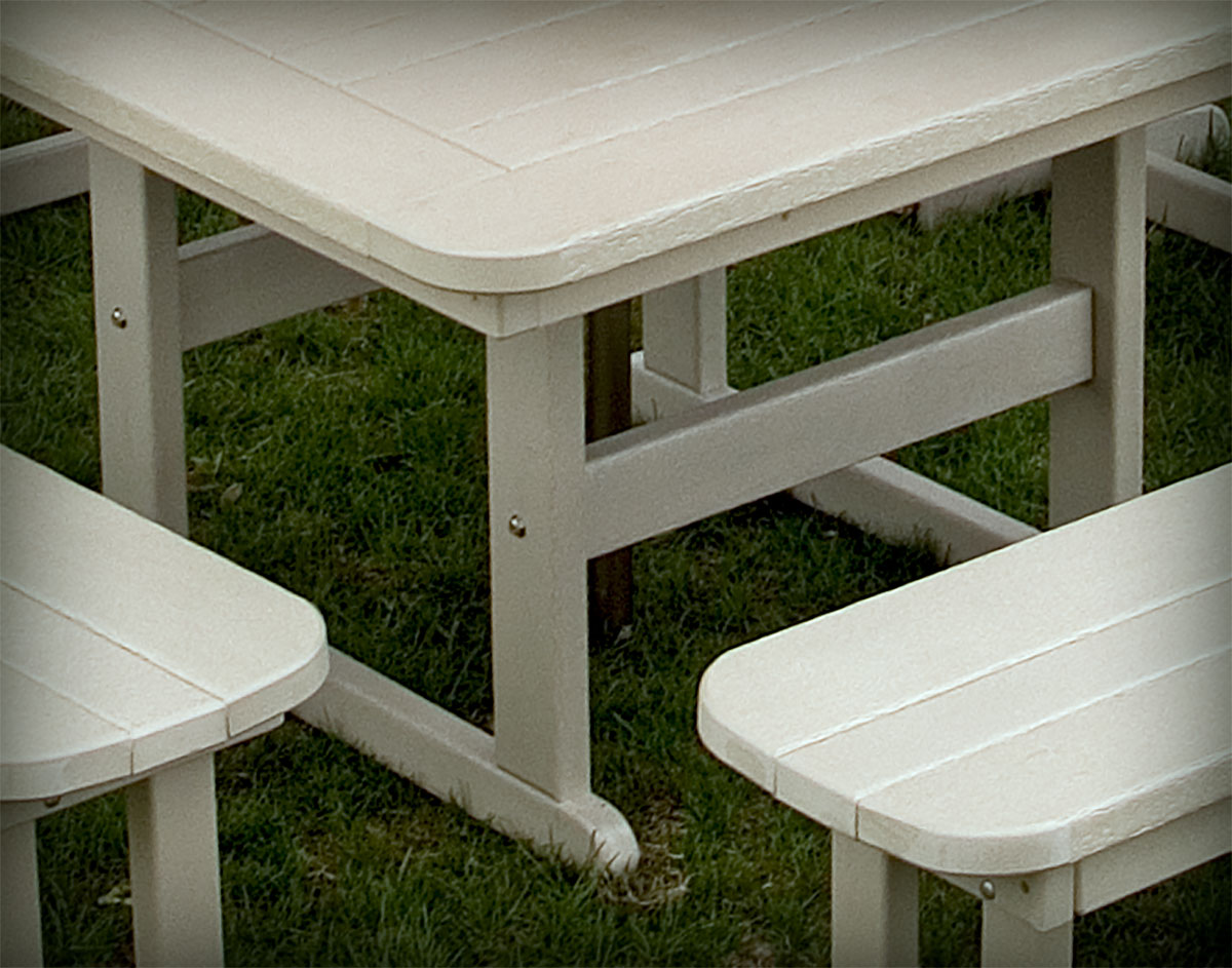 POLYWOOD Commercial Square Picnic Table - Polywood picnic table with benches