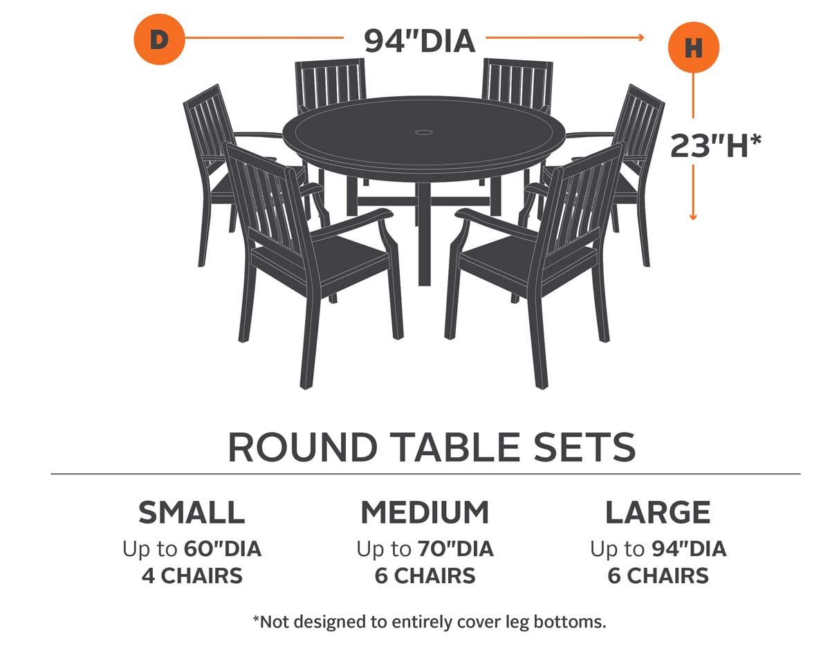 94 Terrace Elite Round Table And 6 Standard Chair Cover