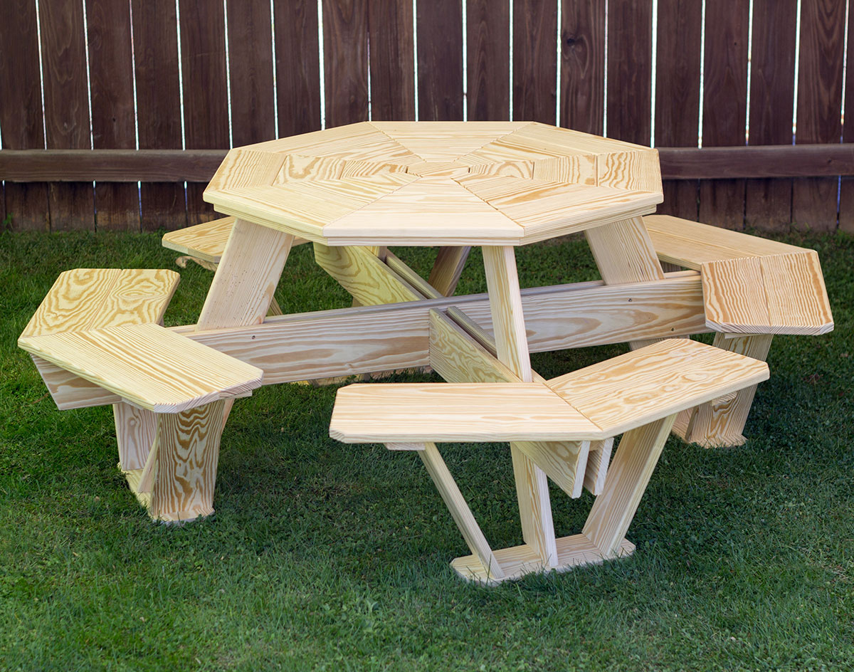 treated pine kid's octagon picnic table