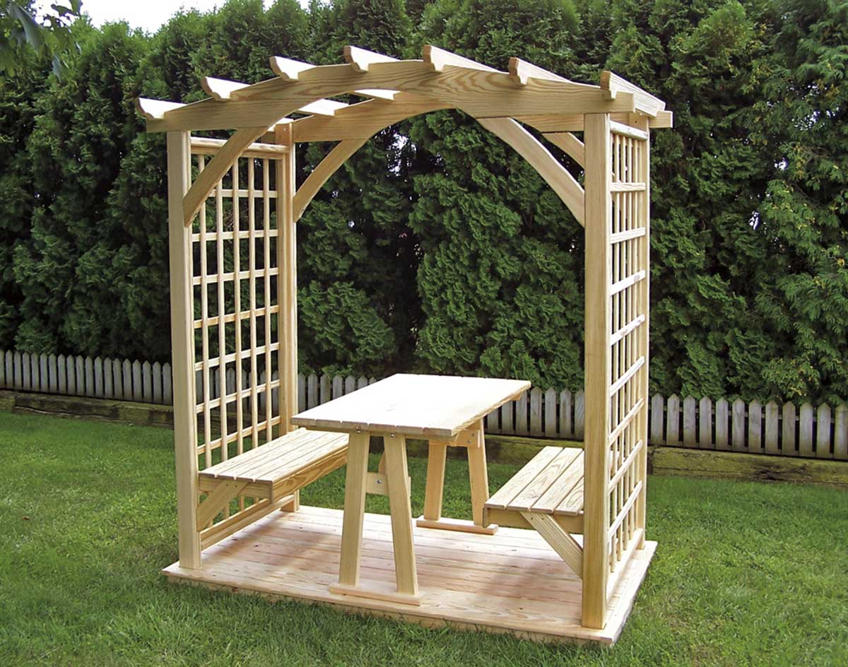 Treated pine picnic pergola - Arbor bench plans set ...