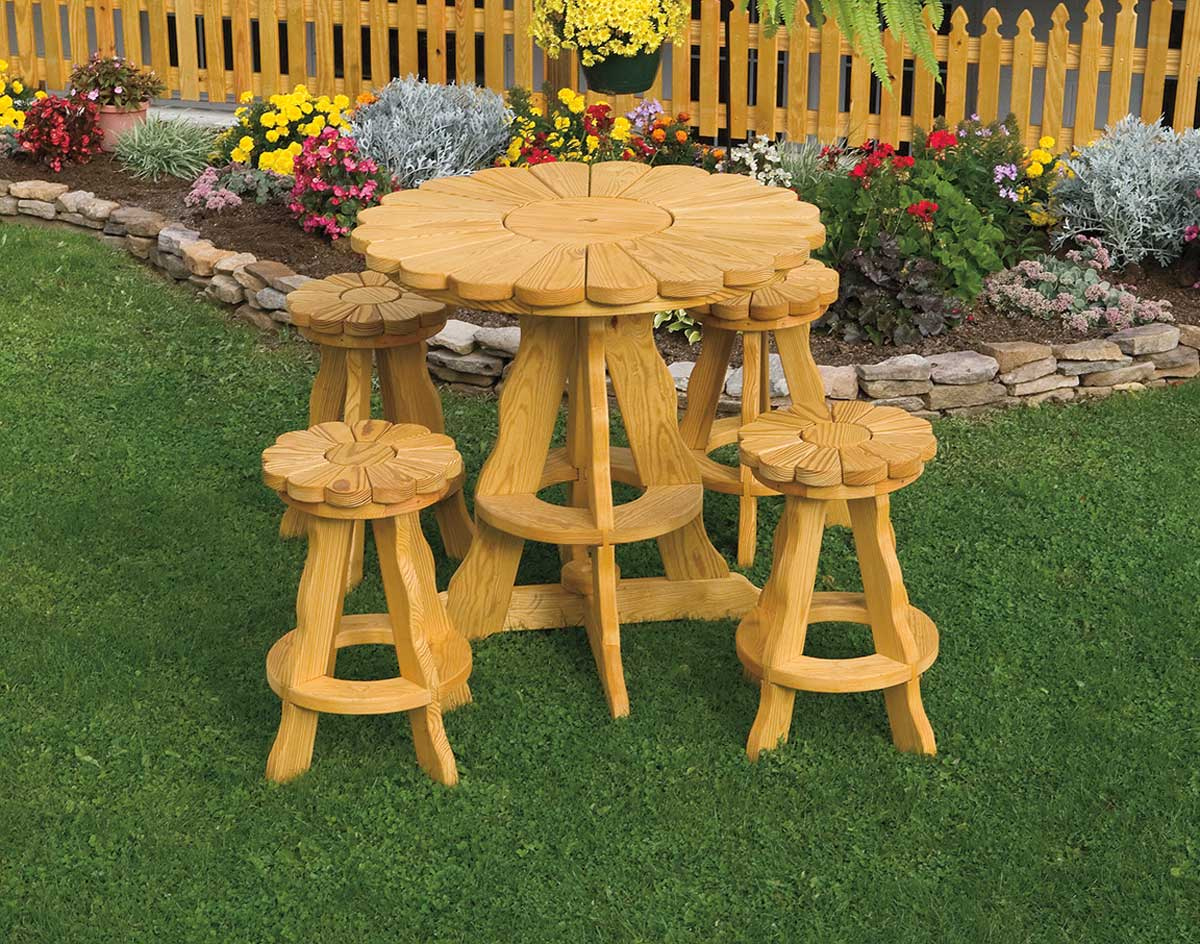 36 Treated Pine Sunflower Table W 4 Pub Stools