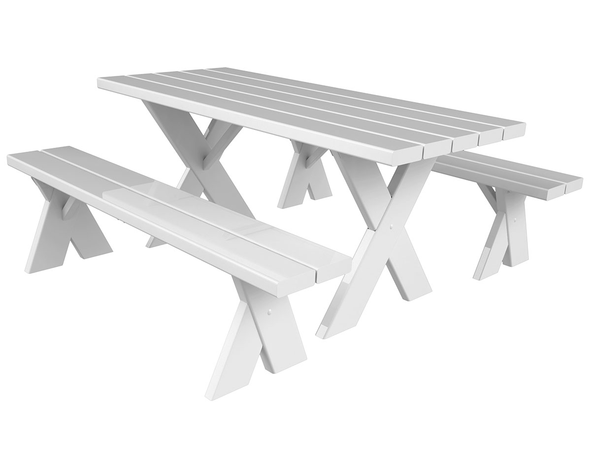 Vinyl Picnic Table WDetached Benches - Picnic table with removable benches