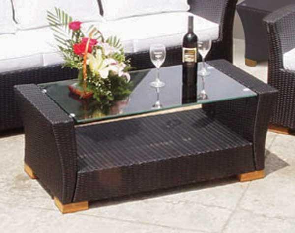 Black Wicker Glass Top Coffee Table
