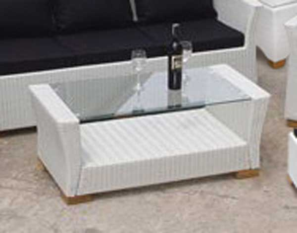 White Wicker Glass Top Coffee Table