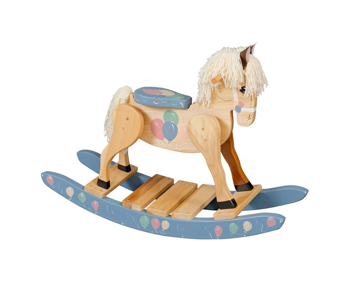 Wooden Balloon Painted Rocking Horse