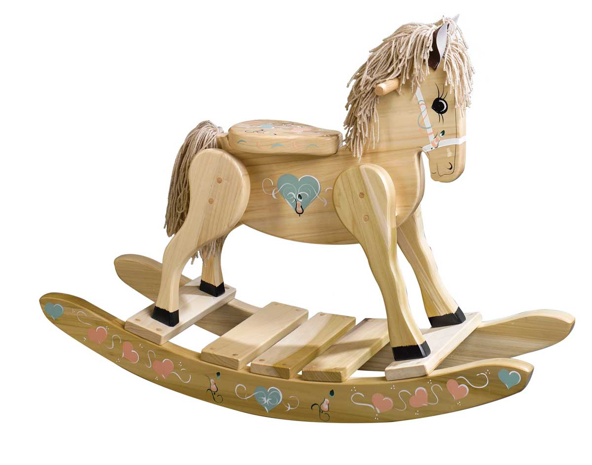 Wooden heart painted rocking horse