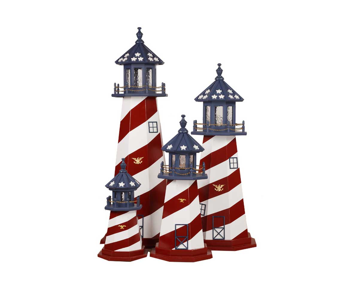 Wooden Patriotic Lighthouse